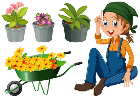 gardener: Gardener with potted plants and flowers illustration