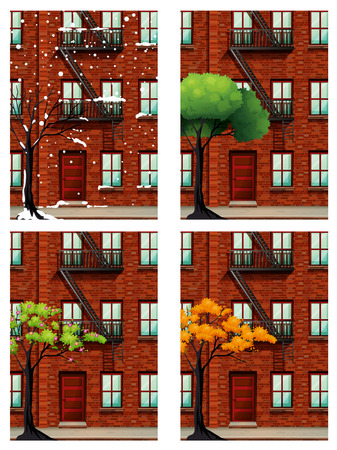 seasons: Apartment building in four seasons illustration
