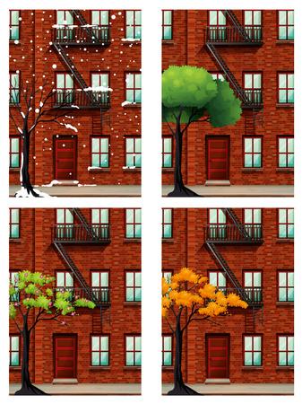 estaciones del a�o: Edificio de viviendas en cuatro temporadas ilustraci�n