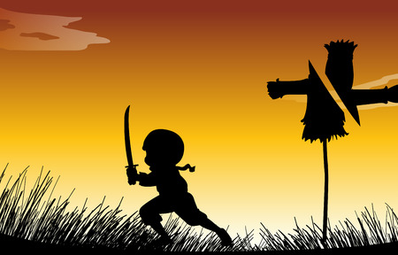 cutting grass: Silhouette ninja with sword illustration