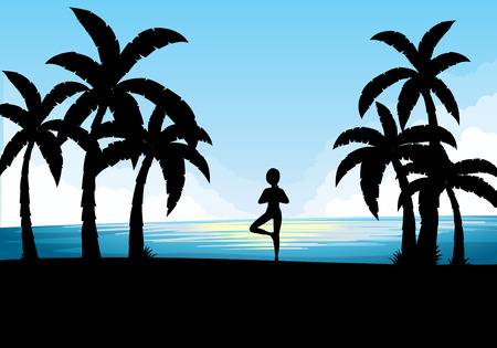 yoga outside: Silhouette scene with person doing yoga illustration Illustration