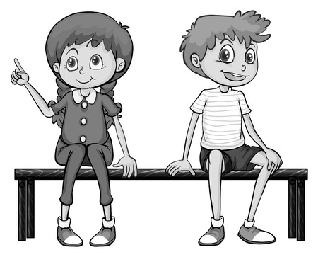 sitting on a bench: Girl and boy sitting on a bench illustration