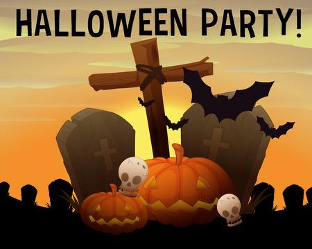 halloween background: Halloween theme with graveyard and pumpkin illustration Illustration