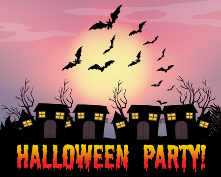 halloween message: Poster of halloween party illustration