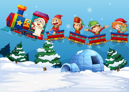 duendes de navidad: Papá Noel y los elfos de montar en el tren ilustración
