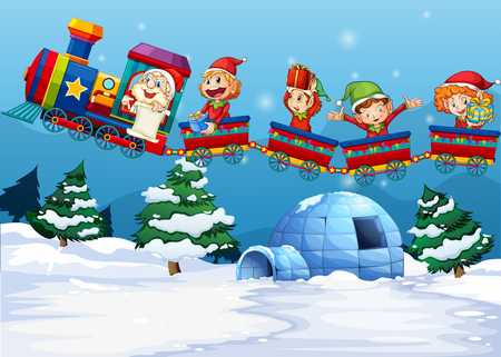 Santa and elf riding on train  illustration Illustration