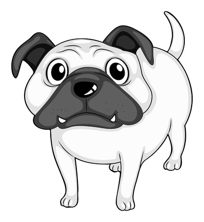 honest: Dog standing alone in black and white illustration