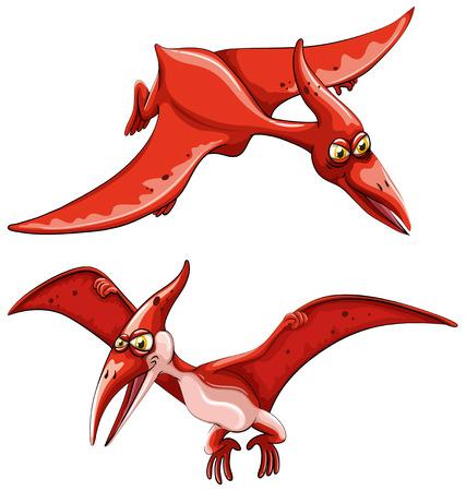 dinosaur clipart: Two red flying dinosaurs  illustration Illustration