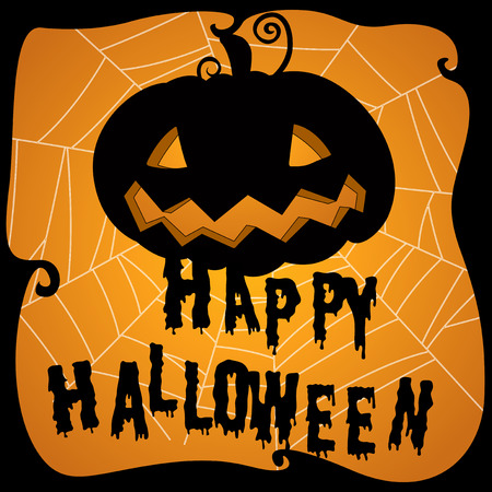 halloween scary: Halloween poster with pumpkin and web illustration Illustration