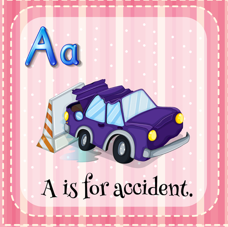 car accident: Flashcard alphabet A is for accident illustration Illustration