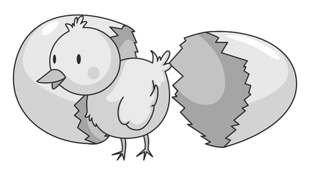 cracking: Little chick coming out of eggshell illustration Vectores