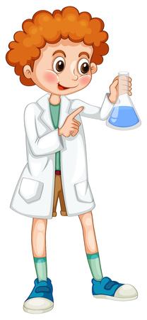 white coat: Boy in white coat holding beaker illustration