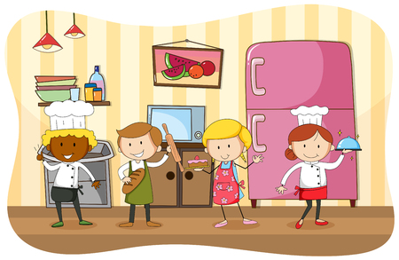 jobs people: Bakers and chef working in the kitchen illustration