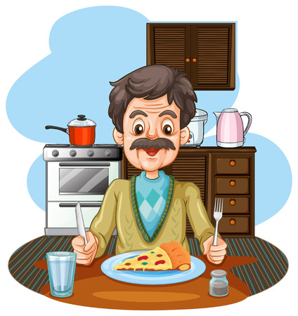 old kitchen: Old man eating pizza on the table illustration