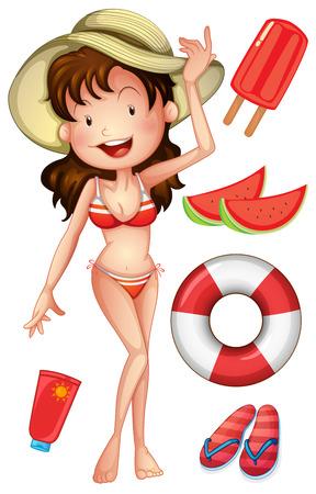 watermelon woman: Girl in bikini with summer set illustration