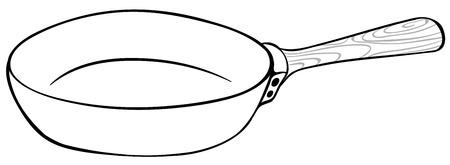 utensil: Frying pan in black and white illustration