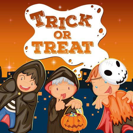 trick or treat: Halloween theme with kids trick or treat illustration