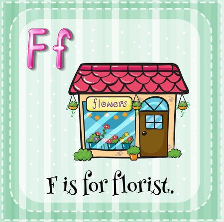 florist: Flashcard of F is for florist    illustration Illustration