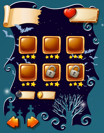 date night: Game template with halloween theme illustration