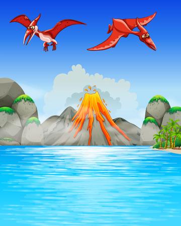 Dinosaurs flying over volcano illustration Illustration
