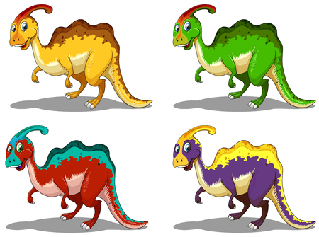 eater: Parasaurolophus in four colors illustration