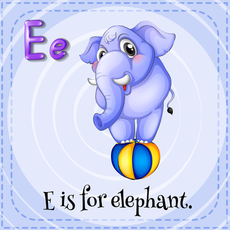 for: Flashcard of E is for elephant illustration