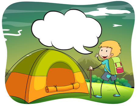 national parks: Boy hiking and camping out illustration