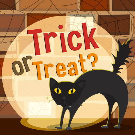 scary halloween: Halloween theme with black cat illustration