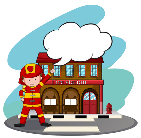 fireman and fire station illustration royalty free cliparts vectors rh 123rf com fire station clipart png fire brigade clipart black and white