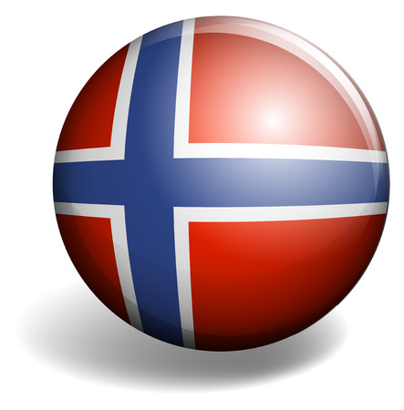 signal device: Norway flag on round badge illustration