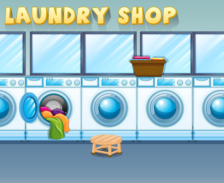 laundry machine: Scene in laundry shop illustration