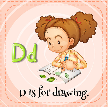 spelling book: Flashcard letter D is for drawing illustration Illustration