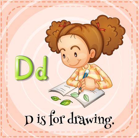 art book: Flashcard letter D is for drawing illustration Illustration