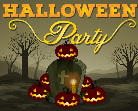 date night: Halloween scene of graveyard illustration