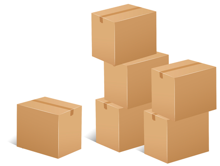 packaging box: Stack of cardboard boxes illustration