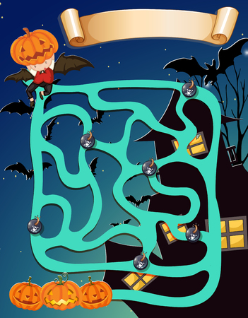 background house: Game template with halloween theme illustration