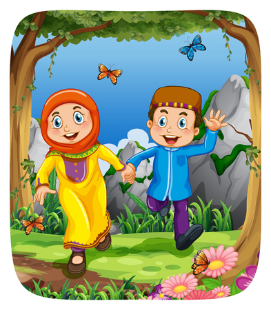 couple holding hands: Muslim couple holding hands in the forest illustration Illustration