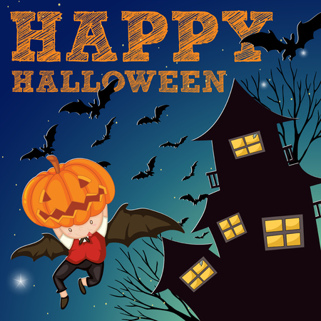 haunted: Halloween theme with haunted house illustration