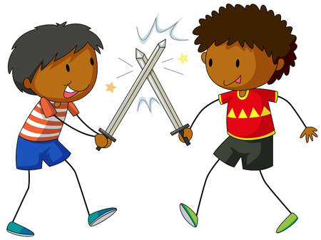 fighting: Two boys fighting with swords  illustration