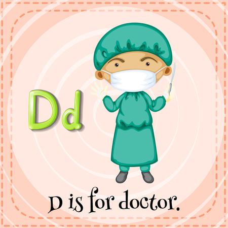 letter alphabet pictures: Flashcard letter D is for doctor illustration