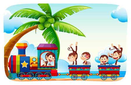 colourful sky: Monkeys sitting on a train at beach side illustration Illustration