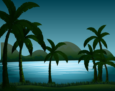 fields  grass: Silhouette nature scene with coconut trees illustration