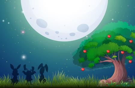hare: Nature scene on fullmoon night illustration Illustration
