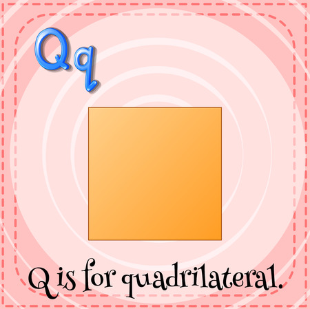 Flashcard letter Q is for quardrilateral illustration