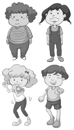 curly hair child: Boy and girl in different poses illustration