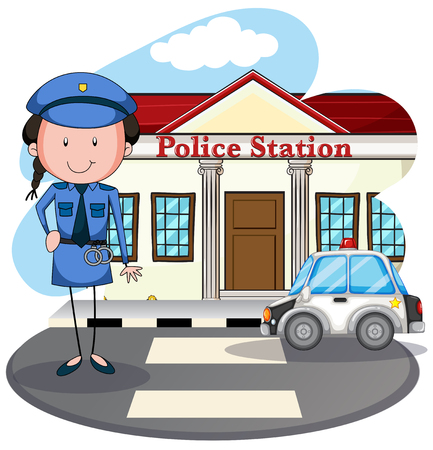 police: Policewoman working at police station illustration