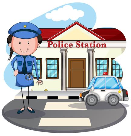 femme policier: Travail policière au poste de police illustration Illustration