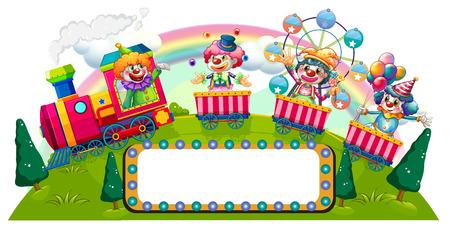 clown cirque: Clowns � cheval sur illustration de train