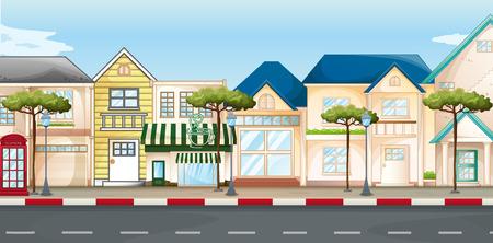 sidewalk cafe: Shops and stores along the street illustration Illustration