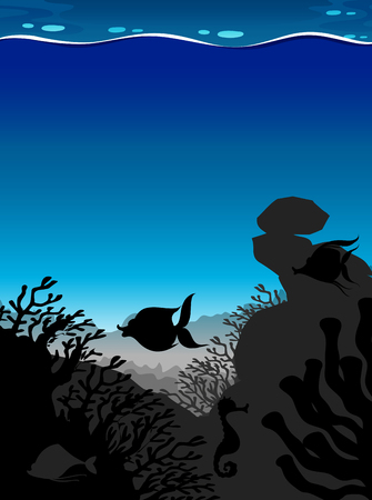 underwater: Silhouette scene underwater with blue wave illustration Illustration